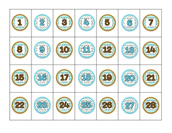 1 Inch Turquoise and Brown Numbers 1-28