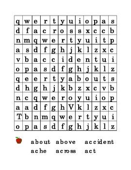 #1 Letter A Sight Word Search Puzzle Kindergarten