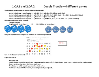 1.OA.6 and 2.OA.2 Double Trouble for Addition - 4 games