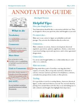 1 Page Guide to Annotating
