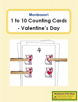 1 to 10 Counting Cards - Valentine's Day