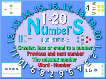 1 to 20 Numbers: Identifies, counts up-down, missing & com
