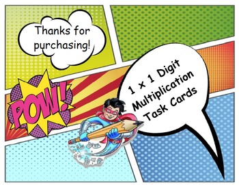 Basic Multiplication Comic Task Cards
