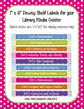 """1"""" x 6"""" Non-Fiction Dewey Shelf Labels for your Library Me"""