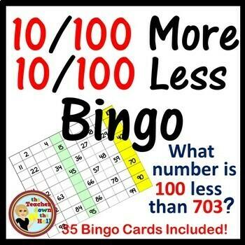 B 10 & 100 More / 10 & 100 Less Bingo - Classroom Game w/