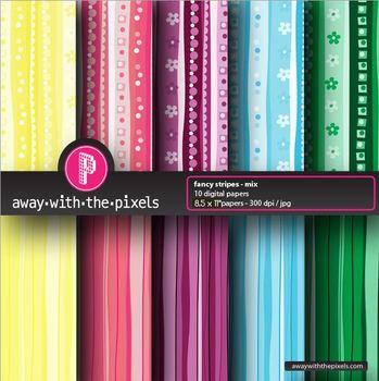 "10 Background Papers 8.5 x 11"" Patterns and Stripes - Comm"
