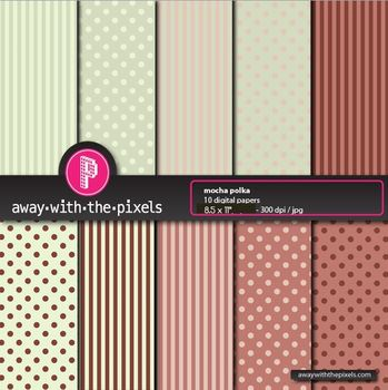 "10 Papers 8.5 x 11"" Brown & Green Polka Dots/Stripes - fro"
