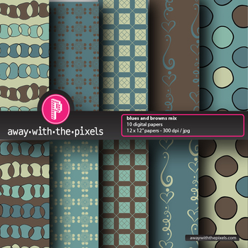 """10 Background Papers 8.5 x 11"""" Blue/brown - Away With The Pixels"""