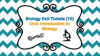 10 Biology Exit Tickets Unit: Introduction to Biology