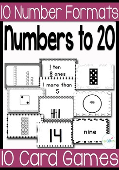 10 Black & White Card Games for Numbers to 20 with 10 Diff