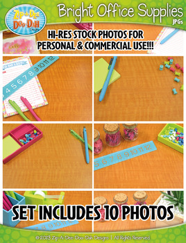 10 Bright Office Supplies Stock Photos Pack — Includes Com