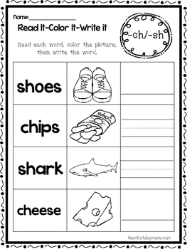 10-CH and -SH Digraph Worksheets.  Preschool-1st Grade Lit
