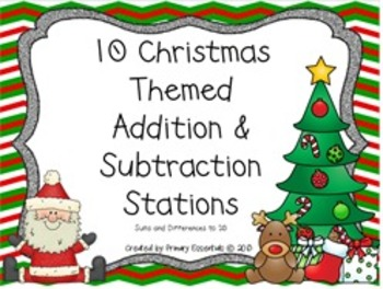 10 Christmas Themed Addition & Subtraction Stations Sums a