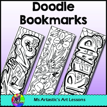 Doodle Coloring Bookmarks