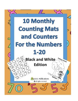 10 Counting Mats & Counters in Black and White
