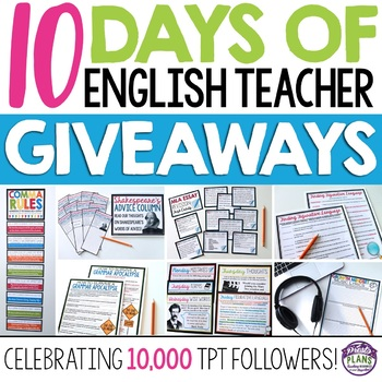 10 DAYS OF ENGLISH TEACHER GIVEAWAYS: Celebrating 10,000 T