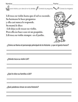 10 Different Spanish Short Stories/Poems with Questionare