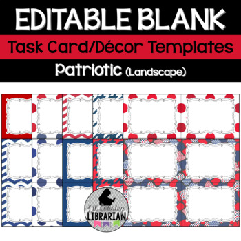 10 Editable Task Card Templates Patriotic Red White Blue (