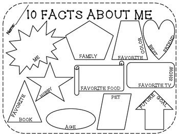 10 Facts About Me! Back to School Activity.