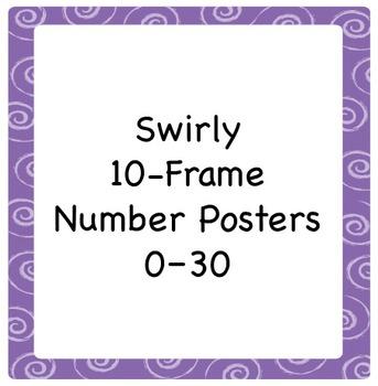 10-Frame Number Poster Set with Swirl Border, 1–30