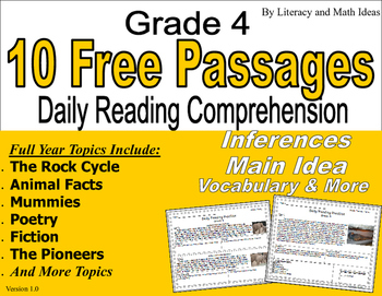 10 Free Passages:  Daily Reading Comprehension (Grade 4)