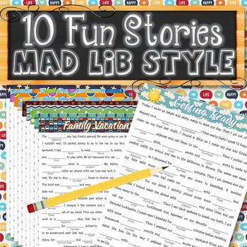 10 Fun Stories Mad Libs Style - INSTANT DOWNLOAD