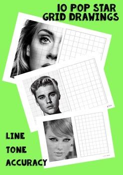 10 Grid Drawing Pop Star Portraits