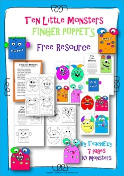 10 Little Monsters Finger Puppets FREE