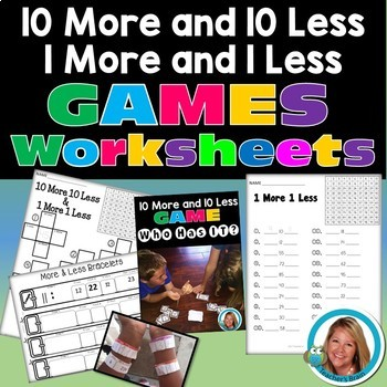 10 MORE and 10 LESS & 1 MORE and 1 LESS Math Unit - Printa