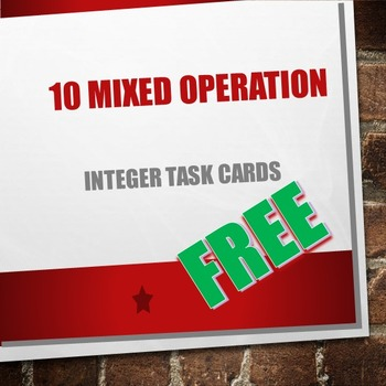 10 Mixed Operations Integer Task Cards with Answers