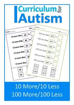 10 More Less, 100 More Less Cut & Paste, Autism Special Education