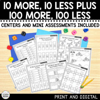 10 More and 10 Less and 100 More and 100 Less Mini Math As