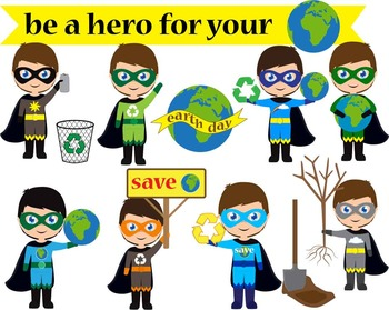 10 PNG Files- Be a Hero for Your Planet- Digital Clip Art