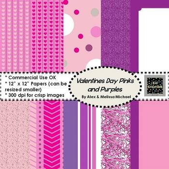 10 Pink & Purple Valentine Papers ~  300 DPI ~ 12x12 CU/PU