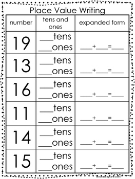10 Place Value Worksheets. Writing Tens and Ones and Expan