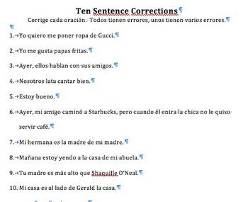10 Sentences to correct