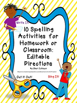 10 Spelling Activities for Homework or Classwork: Editable
