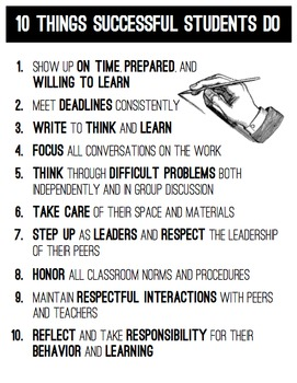 10 Things Successful Students Do -- Classroom Poster