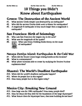 10 Things you Didn't Know about Earthquakes