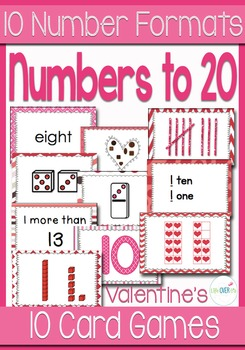 10 Valentines Card Games for Numbers 0-20 with 10 Differen