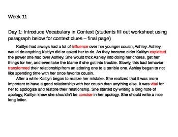10 Weeks of 6th Grade Tier 2 Vocabulary - 2