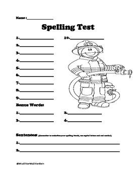 10 Word Spelling Test - Firefighter