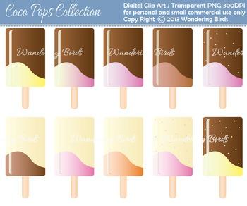 10 ice cream pops clip arts