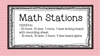 10 more, 10 less Math Station
