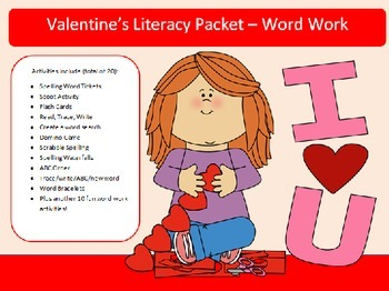 Valentines Day 10 word work packet-20 activities of NO PRE