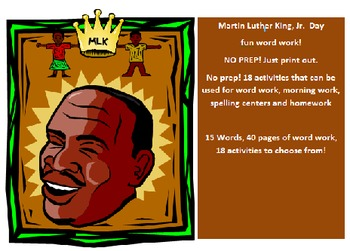 Martin Luther King Day -10 word packet-20 activities of NO