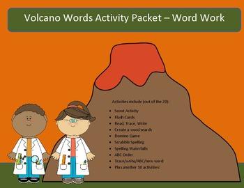 Volcanoes - 10 word packet-20 activities of NO PREP word w