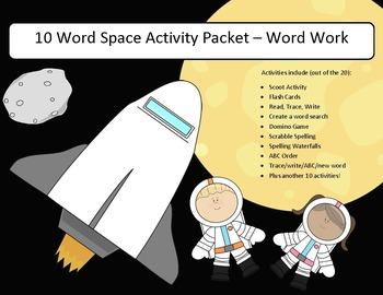 Space related words - 20 activities of word work