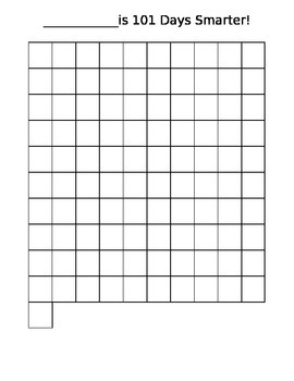 100-101 DAYS SMARTER BLANK COUNTING CHART