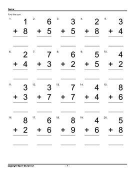 100 Addition Worksheets 200 Questions per sheet Math